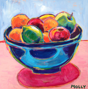 Fruit in Blue Bowl 36x36 (sold)