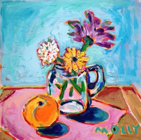 Flowers in Glass Jar with Clementine, 12x12 (sold)